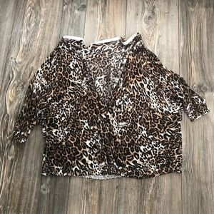 BOUTIQUE cheetah cardigan button sweater